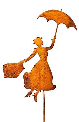 Bornhöft Gartenstecker Mary Poppins Metall Rost Gartendeko Edelrost rostiger Beetstecker (60cm)