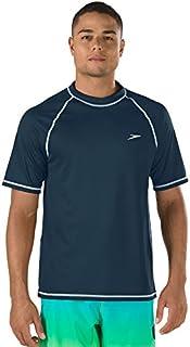 Speed Men's Short Sleeve Easy Rash Guard Swim Shirt with UV and UPF 50+ Protection