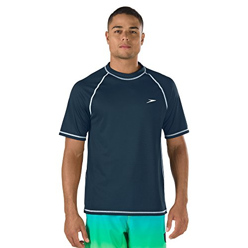 Speedo Men's Uv Swim Shirt Short Sleeve Loose Fit Easy Tee