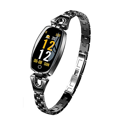 LLWANIGN Smart Watch Smart Wristband Watch Women Fitness Bracelet Heart Rate Monitor Blood Pressure Smart Band Best Gift for Lady for iOS Android,Black with Box