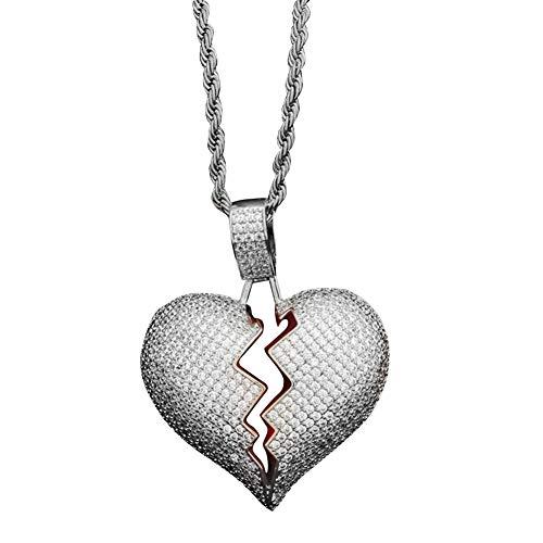 Danigrefinb moda unisex cuore spezzato ciondolo strass coppia collane per donne semplice Fshion Jewelry e Rame, colore: Silver, cod. 1519640-Danigrefinb-uk