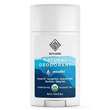 Botanik Natural Organic Deodorant for Sensitive Skin - Aluminum Free Deodorant for Men or Women - Vegan - Unscented - 2.5 oz Stick