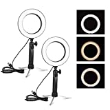 Emart 6'' LED Ring Light with Tripod Stand, 3 Light Modes & 11