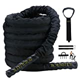 Boersite Battle ropes for home gym, Battling Exercise Training Rope with wear-Resistant Nylon Protective Sleeve with Anchor Strap Kit,for Strength Training, Cardio(1.5inch Diameter×40ft Length)