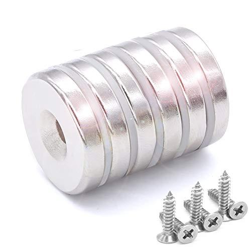 6 Stück Neodym-Disc Senkkopf Loch Magnete, 25 x 5 mm, Stark Permanent Seltenerd-magnete , mit 6 Schrauben für Handwerk