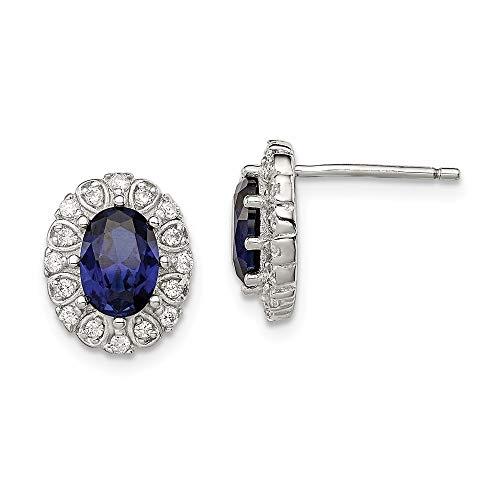 Plata de ley con circonitas y óvalo de Zafiro Sintético Post pendientes - JewelryWeb