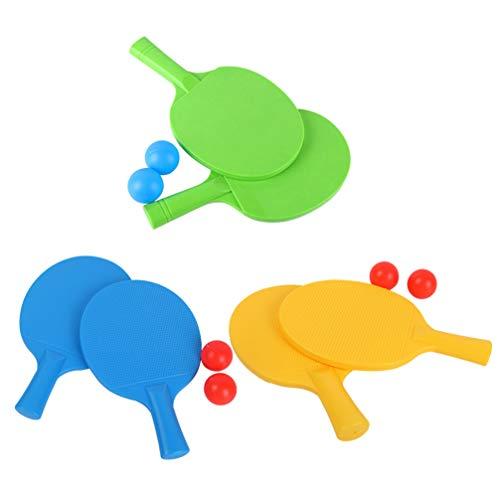 LIOOBO 3 Juegos de Paletas de Ping Pong de Plástico con Pelota para Niños O Mesas Al Aire Libre en Los Centros de Recreación de Campamentos