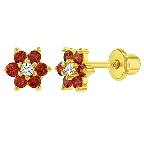 18k Gold Plated Red Clear CZ Flower Baby Girl Screw Back Earrings