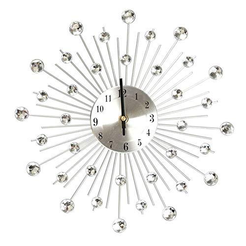 Wandklok creatief stil metalen klok diamant handwerk klok eenvoudige woonkamer slaapkamer decoratie (zilver)