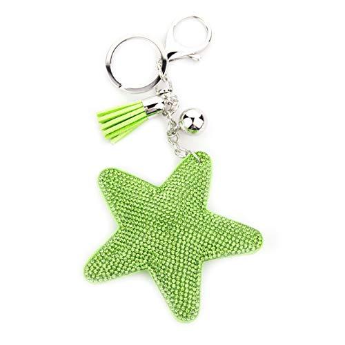 MANUMAR Schlüsselanhänger Handtaschen Dekoration in Stern Motiv aus glitzernden Strass Steinen mit Kordel und Fransen Geschenkidee