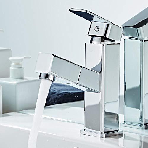 HUSHUN Mischbatterie Einlochmontage Kupfer kann Badezimmerschrank Waschbecken Waschbecken Heizung und Kühlung ziehen@Gewöhnlicher runder Eckspiegel kurz