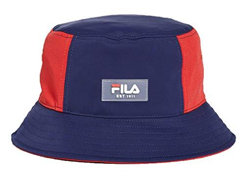 Fila Heritage Colorblocked Nylon Elastane Adjustable Drawstring Bucket Hat (Peacoat/Chinese Red)