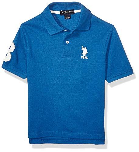 U.S. Polo Assn. Boys' Big Short Sleeve Marled Pique Polo Shirt, Barcelona Blue, 14/16