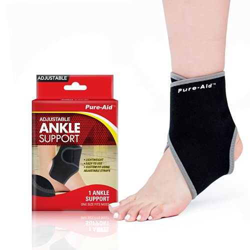 Pure-Aid Adjustable Support Braces, Custom Fit Fabric Design With Adjustable Straps, Easy To Use, One Size Fits Most, Hand Washable (Pure-Aid Adjustable Ankle Support Brace)