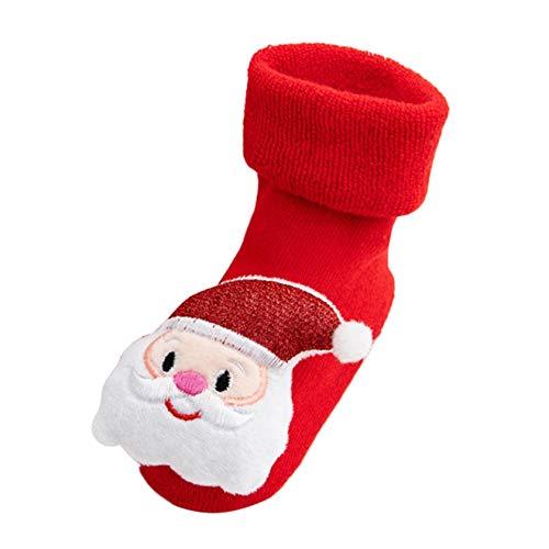 Hausschuhe Baby Weihnachten Socken Antirutsch Mädchen Junge Elch Warm Weiche Sohle Elegant Weihnachts Lauflernschuhe (1-3 Jahre, T3)