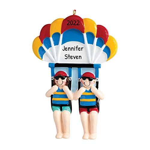 Personalized Parasailing Couple Christmas Tree Ornament 2021 - Parachute Together para-Kite Summer...