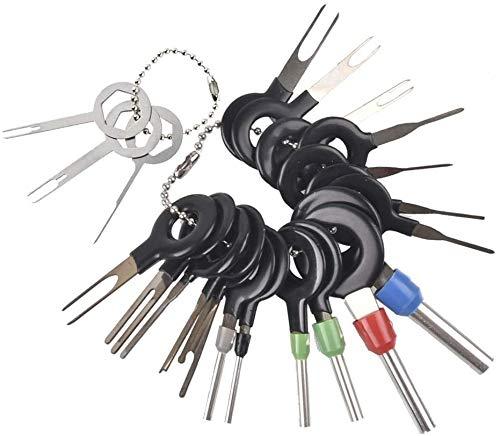Herramienta de Extracción de Terminales,21 PCS Extracción Automática de Llaves Kit de Herramientas de Pasadores Conector Cableado Eléctrico para Despinzar Conectores de Alambre de Crimpado