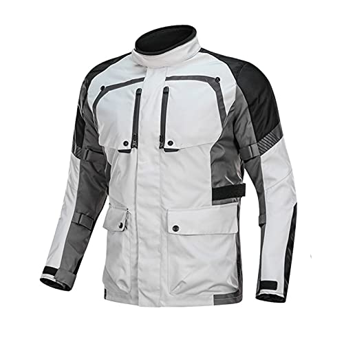 DNJKH Chaqueta de Motocicleta Impermeable para Hombre, Chaqueta de Motocross a Prueba de Frío, Armadura CE, Cuatro Estaciones