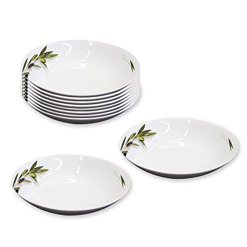 10er SET Suppenteller Ø 20,5 cm GREEN OLIVES aus Porzellan/ppd/Teller