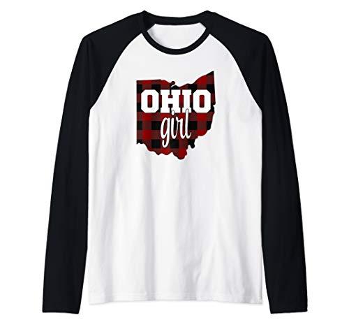 Buckeye State of Ohio. State Ohio Girl Ohio Born Ohio Raised Raglan Baseball Tee