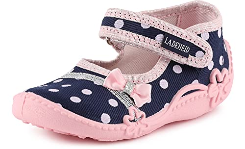 Ladeheid Pantofole a Strappo Bambina LAVI0001 (Blu Navy/Dots, 27 EU)