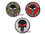 Cobrave Round Punisher Stickerei Tactical Patch Morale Haken und Schlaufe, Sortiert