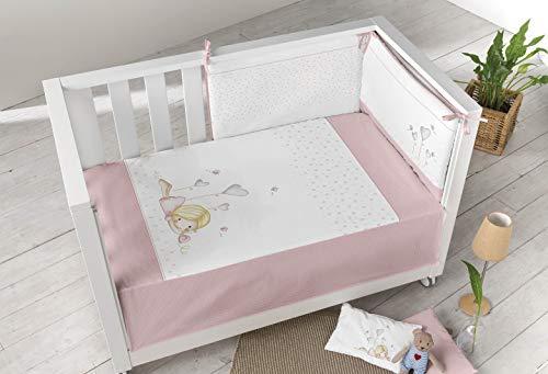 PIELSA BABY - 3377-14 | Edredón Más Protector Cuna | Edredón Más Protector Bebe | Edredón Más Protector Bebe Cama | Color Rosa | Tamaño 120X60