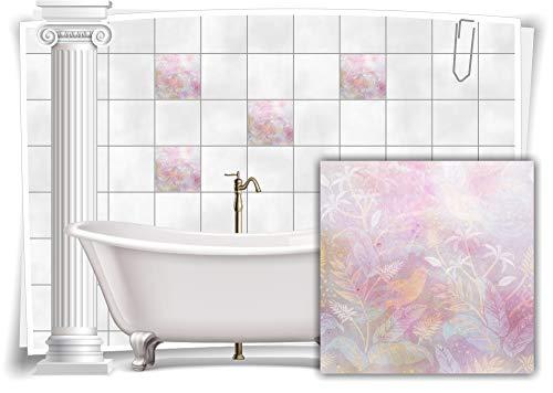 Medianlux Fliesen-Aufkleber Fliesen-Bild Vintage Nostalgie Blumen Rosa Pastell-Violett Bad WC Deko, 8 Stück, 15x15cm m13m34-88361