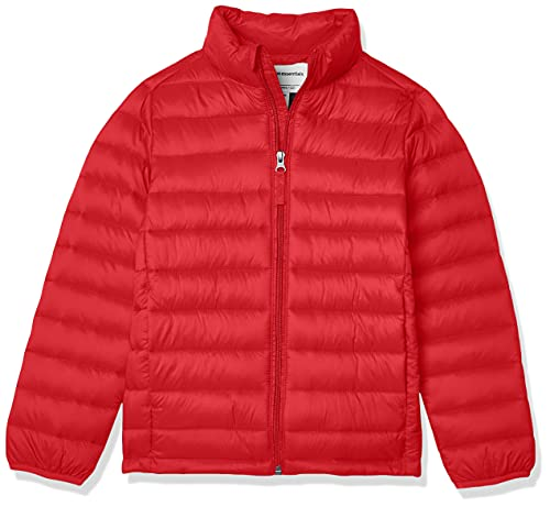 Amazon Essentials Kids Boys Light-Weight Water-Resistant Packable Puffer Jackets Coats, Red, X-Large