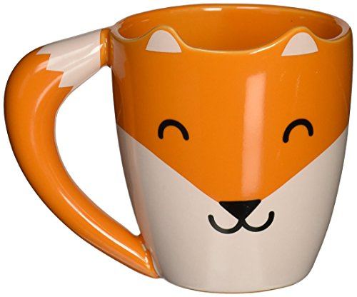 Thumbs Up! Fox Mug Tazza, Ceramica, Bianco e Arancio