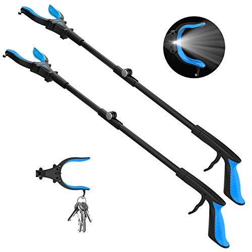 2-Pack Grabber Reacher Tool with Light, 32' Extendable Pickup Trash Grabber, 90°Rotating Anti-Slip Jaw, Grabbers for Elderly, Durable Stick, Magnet Tip (Blue)