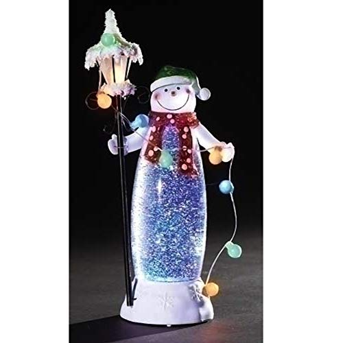 Confetti Lites LED Standing Snowman with a Lamp and String of Ornaments That Light Up and Swirls in The Lighted Interior of The Snowman, 11.5-Inch