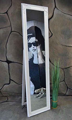 Livitat® Standspiegel Ankleidespiegel Holz 160 x 40 cm Garderobenspiegel Wandspiegel antik Weiß Rokoko barock LV9028