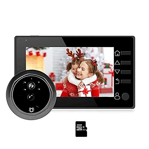 BJH Visor de Timbre con Mirilla de vídeo Cámara de Puerta de 4,3 Pulgadas Visor de Puerta electrónico Digital LCD Detección de Movimiento de visión Nocturna