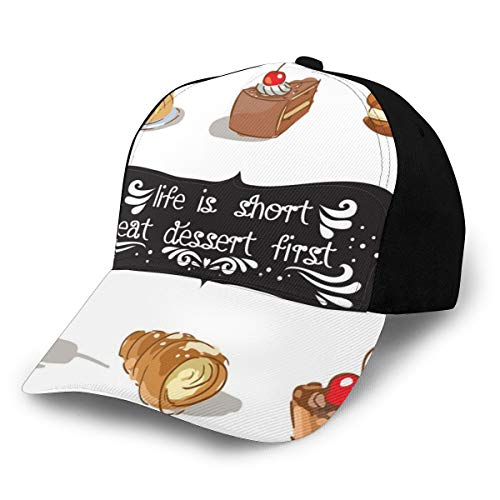 Hip Hop Sun Hat Baseball Cap,Vintage Patisserie Themed Various Desserts Doodle and Food Quote Image,for Men&Women