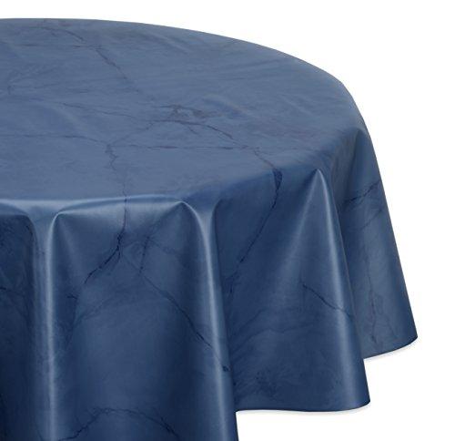 Wachstuchtischdecke glatt abwischbar OVAL RUND ECKIG, Marmorstein Wachstuch Garten Tischdecke, Größe und Farbe wählbar (Rund 130 cm, Dunkelblau)