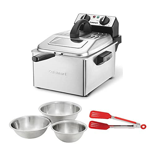 Cuisinart CDF-200P1 4-Quart Deep Fryer with Set of 3 Stainless Steel Mixing Bowls and Nylon Flipper Tongs Bundle (3 Items)