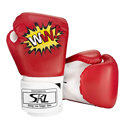 SKL Kinder Boxhandschuhe, Pu Kids Boxing Gloves Kinder Cartoon Sparring Boxhandschuhe Training Alter 5-12 Jahre (Rot)