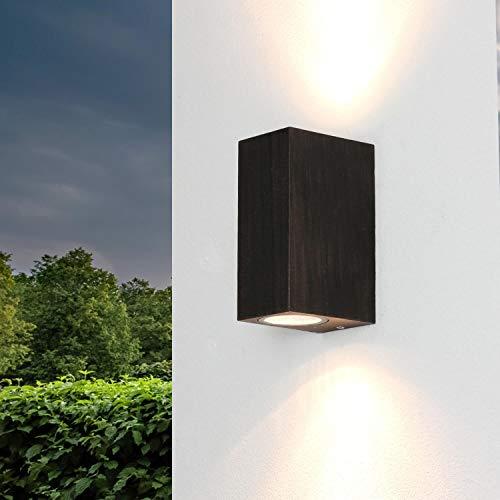 """Lámpara de exterior""""Aalborg"""" de diseño en negro-dorado antic / 2xGU10 / IP44 / lámpara de exterior de pared, para puerta, patio y jardín ⭐"""