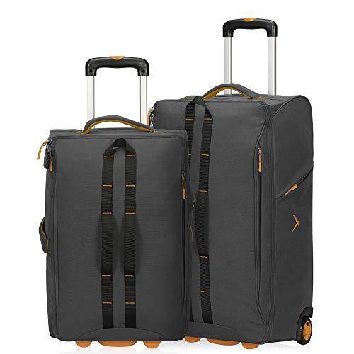 Hynes Eagle Carry on Luggage Rolling Wheeled Duffel Bag Softside Luggage Checked Suitcase 2pcs Set(21'/26'),34+64L,Grey