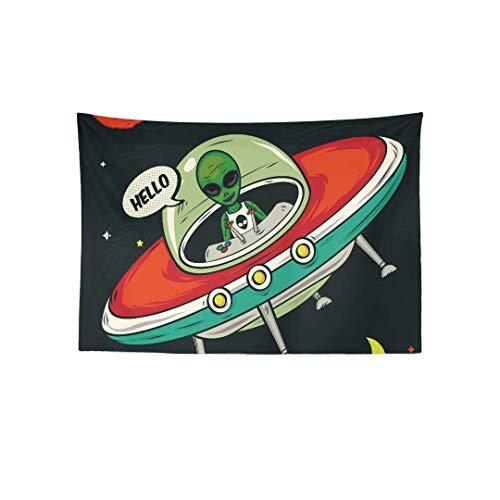 Inontime Tapiz Colgar en la Pared Alien Invasion Vector Illustration Printed Tapestry Wall Hanging Boho Mandala Hippie Tapestry Wall Art Decor for Living Room Bedroom Dorm 80 * 60inch