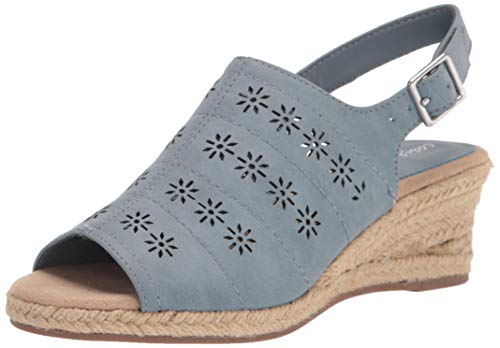 Easy Street womens Espadrille Wedge Sandal, Denim, 8 X-Wide US