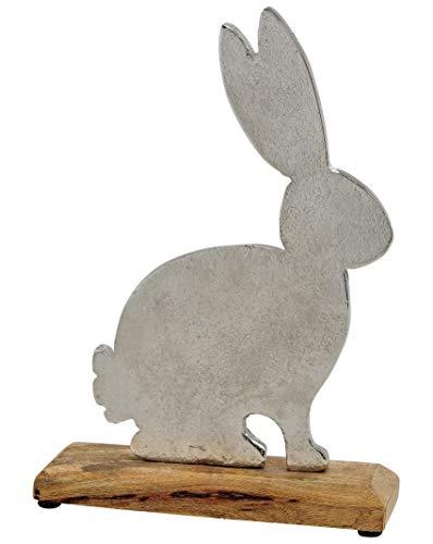 Hase aus Aluguss auf Mango Holz Sockel - Aufsteller Dekohase Osterhase Osterei 18x27x5cm