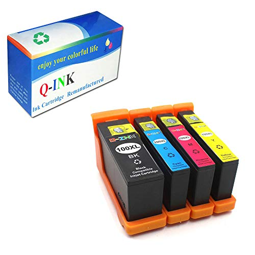 QINK 4 Pack Ink Cartridge for Lexmark 100XL Black Color Show Accurate Ink Level for Lexmark Pinnacle Pro 901 905 805 705 205 Printer