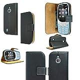 PIXFAB For Nokia 3310 3G / 4G - Premium Black Book Leather