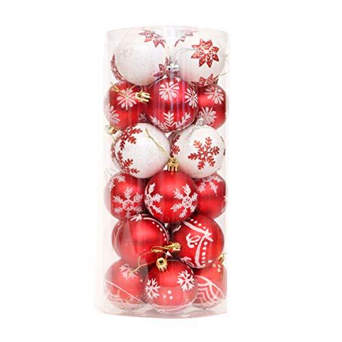 YASSON Boule d'Arbre de Noël Ornement Décoration de Sapin de Noël Suspension Maison Paillette Brillant Modèle A-Rouge Blanc Diamètre 6cm