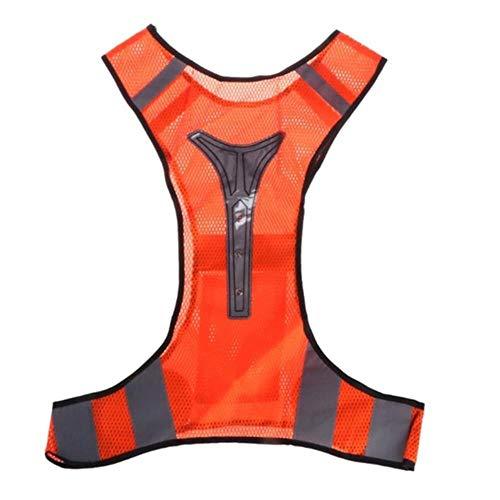 Vest Reflecterende Veiligheid Mounchain Led Safe Reflecterende Outdoor Vest 3 Led Lights Knipperen 40 Uur Voor Outdoor Fietsen Hardlopen Joggen Wandelen Vest Wear ORANJE