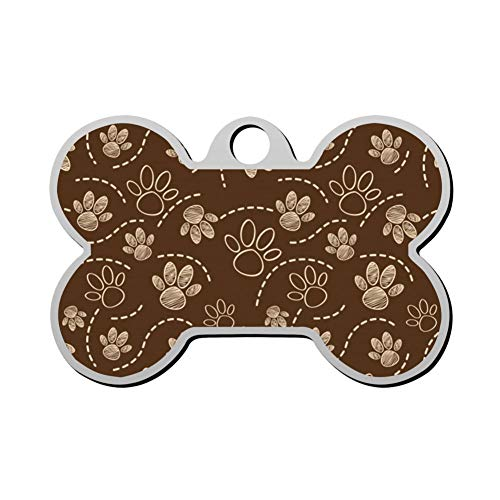 Aanpasbare Bone Shape ID Tags, Chocolade Hond Paw Patroon Gepersonaliseerde Dubbelzijdige Gedrukte Huisdier Informatie Kraag voor Kat Hond