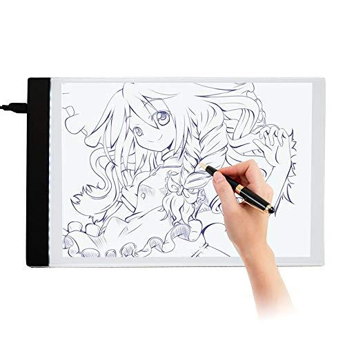 Fighrh Caja de herramientas cómica blanca 33.8 X 23.8cm regalo de los niños ultra-delgado Copy Station LED A4 Caja de Luz de la pantalla del tablero de dibujo de la plantilla del cojín del artista Art