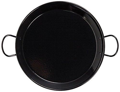 La Valenciana - Paella de Acero esmaltado (30cm, Apta para inducción, Asas de cerámica), Color Negro